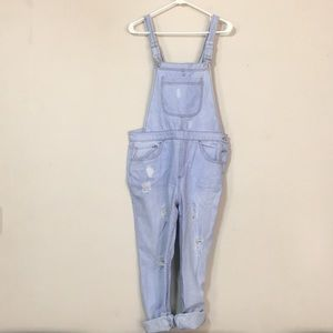 Forever 21 light colored distressed overalls